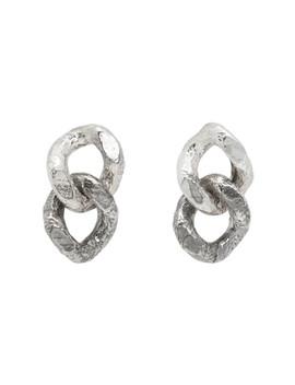 Silver Double Sliced Link Earrings by Pearls Before Swine