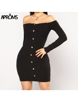 Aproms Buttons Knitted Off Shoulder Tunic Dress Winter Sweater Dresses Women Sexy Long Sleeve Bodycon Club Short Dress Vestidos by Aproms