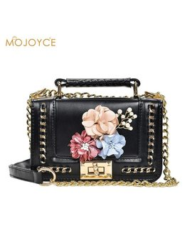 2018 Handmade Flowers Flap Messenger Bags For Ladies Mini Shoulder Bags With Chain Small Designers Crossbody Shoulder Bags Girls by Mojoyce