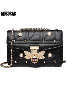 Mosorab Luxury Diamond Design Women Handbag Fashion Bee Pearl Shoulder Bag Brand Leather Clutch Purse Female Sac A Main Blosa by Mosorab