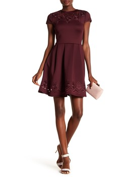 Lace & Mesh Skater Dress by Ted Baker London