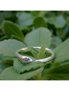 Silver Snake Ring, Minimalist Nature Ring, Dainty Serpent Ring, Adjustable Reptile Ring, Witchy Animal  Ring by Etsy