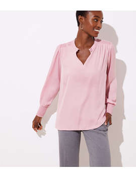 Petite Smocked Split Neck Blouse by Loft