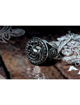 House Targaryen Dragonstone Ring,Dragon Ring,Engraved Ring, Games Of Thrones Sterling Silver 925 by Etsy