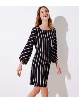Striped Square Neck Tie Waist Dress by Loft