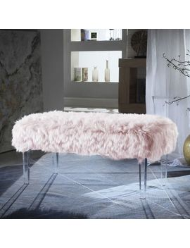 Samuel Pink Faux Fur Bench by Pier1 Imports