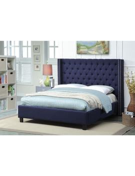Meridian Ashton Navy Linen Tufted Wing Bed by Meridian