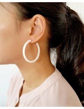 Calm White Hoop Earrings, Tortoise Shell Earrings, Simple Minimalist Tortoise Earrings, Surgical Post Hoop Earrings, Resin Earrings by Etsy