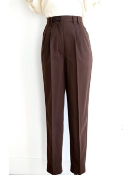 40s Vintage Style Slacks In Chocolate Brown With Pleats, Size Us 4 by Etsy