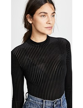 Velour Rib Mock Neck Bodysuit by Only Hearts