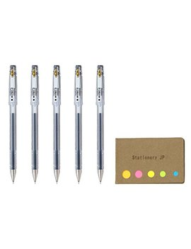 Pilot Hi Tec C 025 Gel Ink Pen, Hyper Fine Point 0.25mm, Black Ink, 5 Pack, Sticky Notes Value Set by Stationery Jp