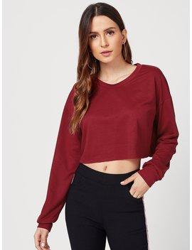 Drop Shoulder Crop Sweatshirt by Romwe