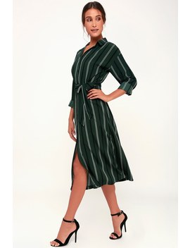Good News Dark Green Striped Midi Shirt Dress by Lush