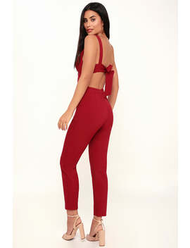 Eureka Wine Red Tie Back Jumpsuit by Lulus