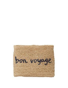 Whimsical Embroidered Raffia Clutch Bag by Hat Attack