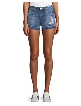 Distressed Denim Cutoff Shorts With Released Hem by Blank Nyc