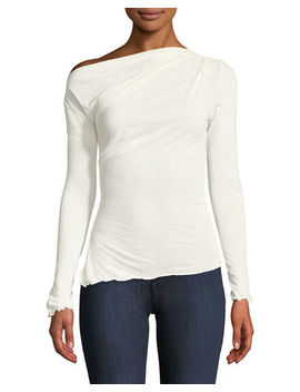 Always Available Long Sleeve Ruffle Trim Tee by Style Keepers