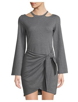 Long Sleeve Jersey Wrap Skirt Mini Dress by Junie