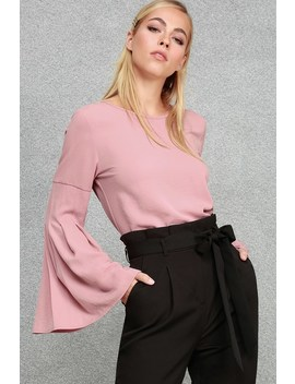 Boardroom Belle Mauve Pink Bell Sleeve Top by Lulus