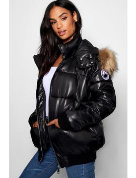 Tall Faux Fur Trim Puffer Jacket by Boohoo