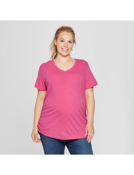 Maternity Plus Size Short Sleeve Shirred V Neck T Shirt   Isabel Maternity By Ingrid & Isabel™ by Isabel Maternity By Ingrid & Isabel