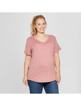 Maternity Plus Size Short Sleeve V Neck T Shirt   Isabel Maternity By Ingrid & Isabel™ by Isabel Maternity By Ingrid & Isabel