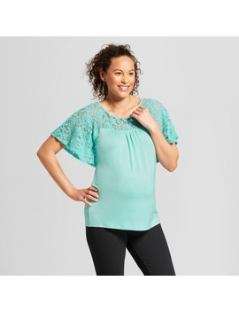 Maternity Short Sleeve Crochet Yoke Top   Ma Cherie by Ma Cherie