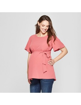 Maternity Short Sleeve Woven Tie Waist Blouse   Isabel Maternity By Ingrid & Isabel™ Red by Isabel Maternity By Ingrid & Isabel