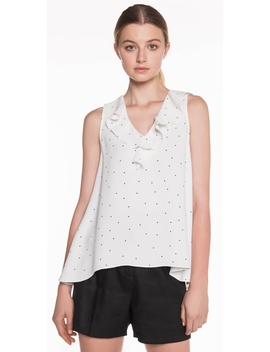 Spot Crepe Frill Top by Cue