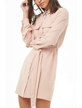 Long Sleeve Shirt Dress by Forever 21