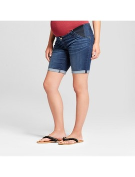 Maternity Inset Panel Bermuda Jean Shorts   Isabel Maternity By Ingrid & Isabel™ Dark Wash by Isabel Maternity By Ingrid & Isabel