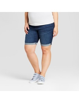 Maternity Plus Size Crossover Panel Bermuda Shorts   Isabel Maternity By Ingrid & Isabel™ Dark Wash by Isabel Maternity By Ingrid & Isabel