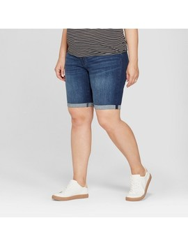 Maternity Plus Size Inset Panel Bermuda Shorts   Isabel Maternity By Ingrid & Isabel™ Dark Wash by Isabel Maternity By Ingrid & Isabel