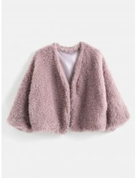 Fluffy Faux Fur Short Coat   Pink Rose by Zaful
