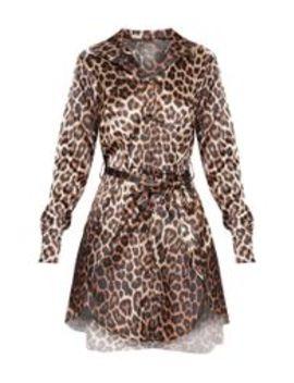 Tan Leopard Print Satin Tie Waist Curve Hem Shirt Dress by Prettylittlething