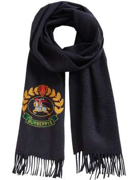 Burberrynavy Classic Logo Cashmere Scarfhome Women Burberry Accessories Scarves by Burberry