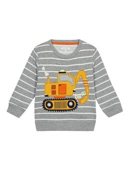 Bluezoo   Boys' Grey Striped Light Up Digger Applique Sweatshirt by Bluezoo