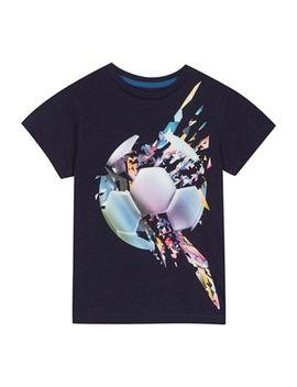 Bluezoo   'boys' Navy Football Print T Shirt by Bluezoo