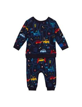 Bluezoo   Baby Boys' Navy Transport Print Sweatshirt And Jogging Bottoms Set by Bluezoo