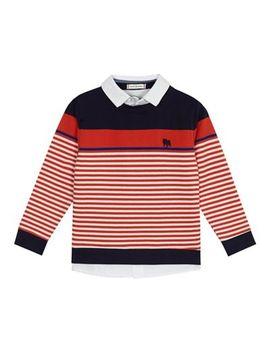 J By Jasper Conran   'boys' Red Striped Mock Shirt Sweater by J By Jasper Conran