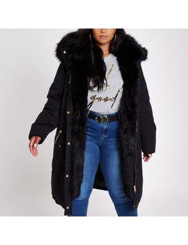 Plus Black Faux Fur Trim Parka Coat by River Island