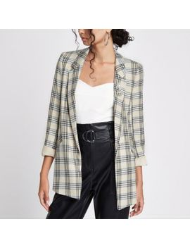 Cream Check Ruched Sleeve Brooch Blazer by River Island