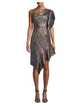 One Shoulder Metallic Floral Jacquard Daytime Dress by Josie Natori