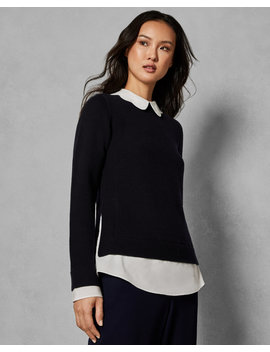 Pull Over Col Festonné Effet Chemise by Ted Baker