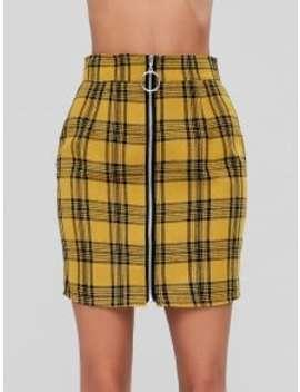 Zip Front Mini Plaid Skirt   Mustard L by Zaful