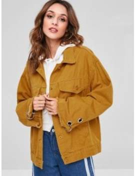 Letter Embroidered Frayed Jacket   Bee Yellow S by Zaful