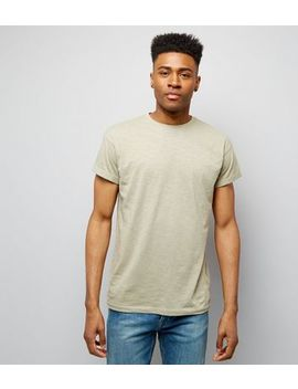 Olive Green Cotton Rolled Sleeve T Shirt by New Look