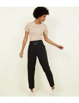 Black High Waist Buckle Trousers by New Look