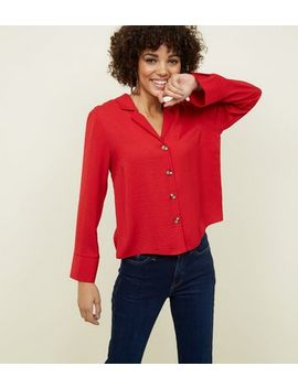 Red Crepe Revere Collar Boxy Shirt by New Look