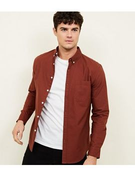 Rust Long Sleeve Oxford Shirt by New Look